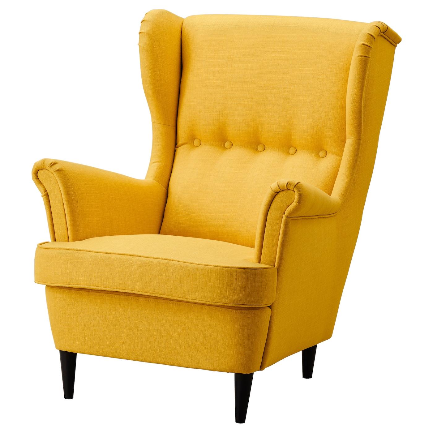 IKEA STRANDMON żółty fotel uszak