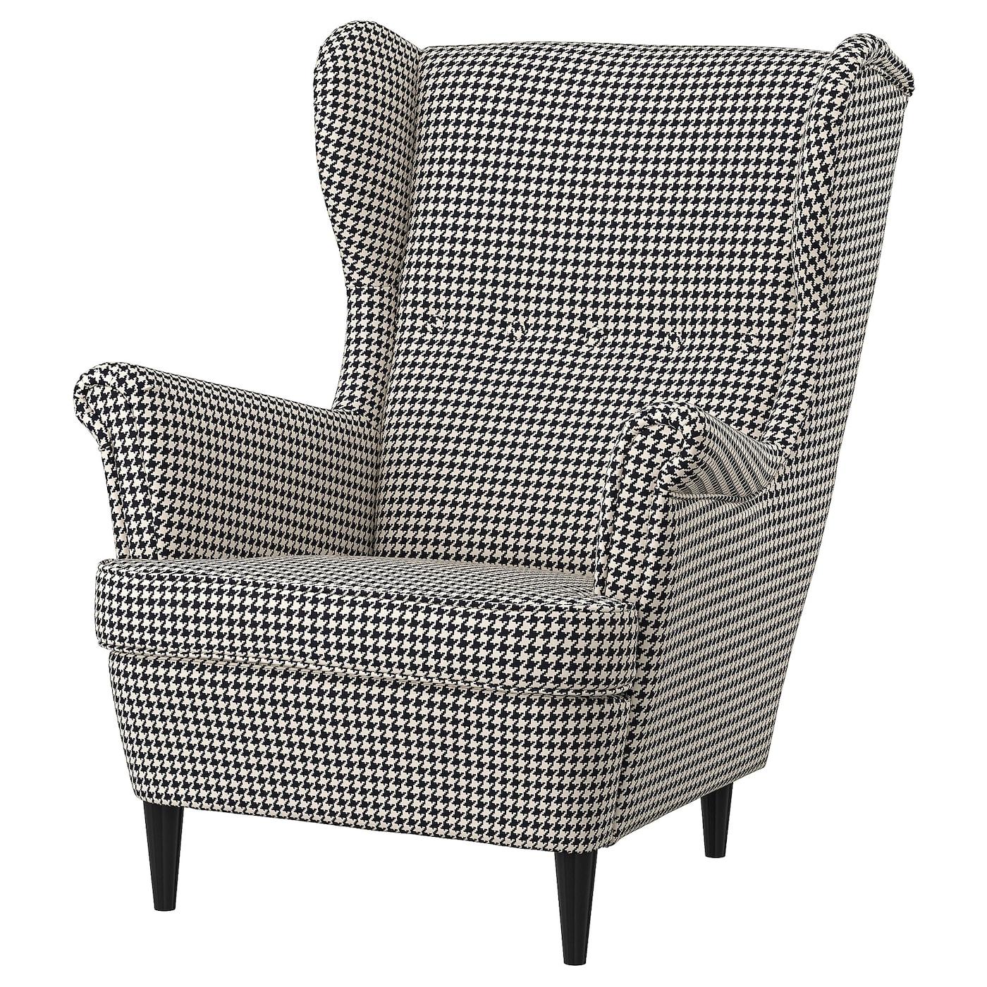 IKEA STRANDMON Fotel uszak, Vibberbo czarny/beżowy