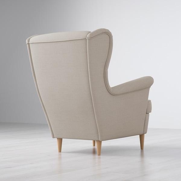 STRANDMON fotel uszak Skiftebo jasnobeżowy 82 cm 96 cm 101 cm 49 cm 54 cm 45 cm