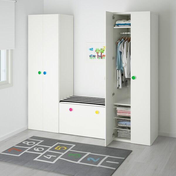 STUVA / FÖLJA Kombinacja regałowa z ławą, biały, 210x50x192 cm
