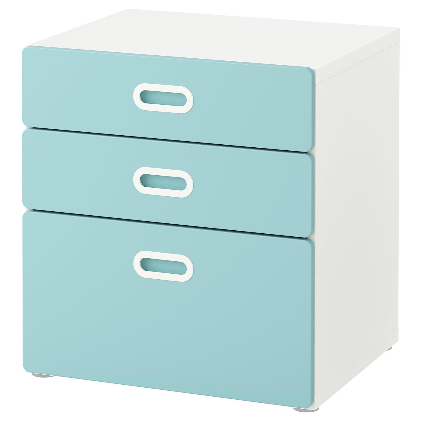 IKEA STUVA biała komoda z trzema jasnoniebieskimi szufladami FRITIDS, 60x64 cm