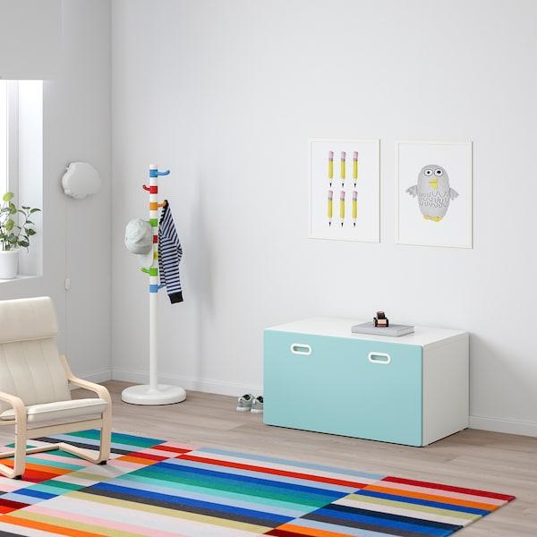 STUVA / FRITIDS ławka z pojemnikiem na zabawki biały/jasnoniebieski 90 cm 50 cm 50 cm