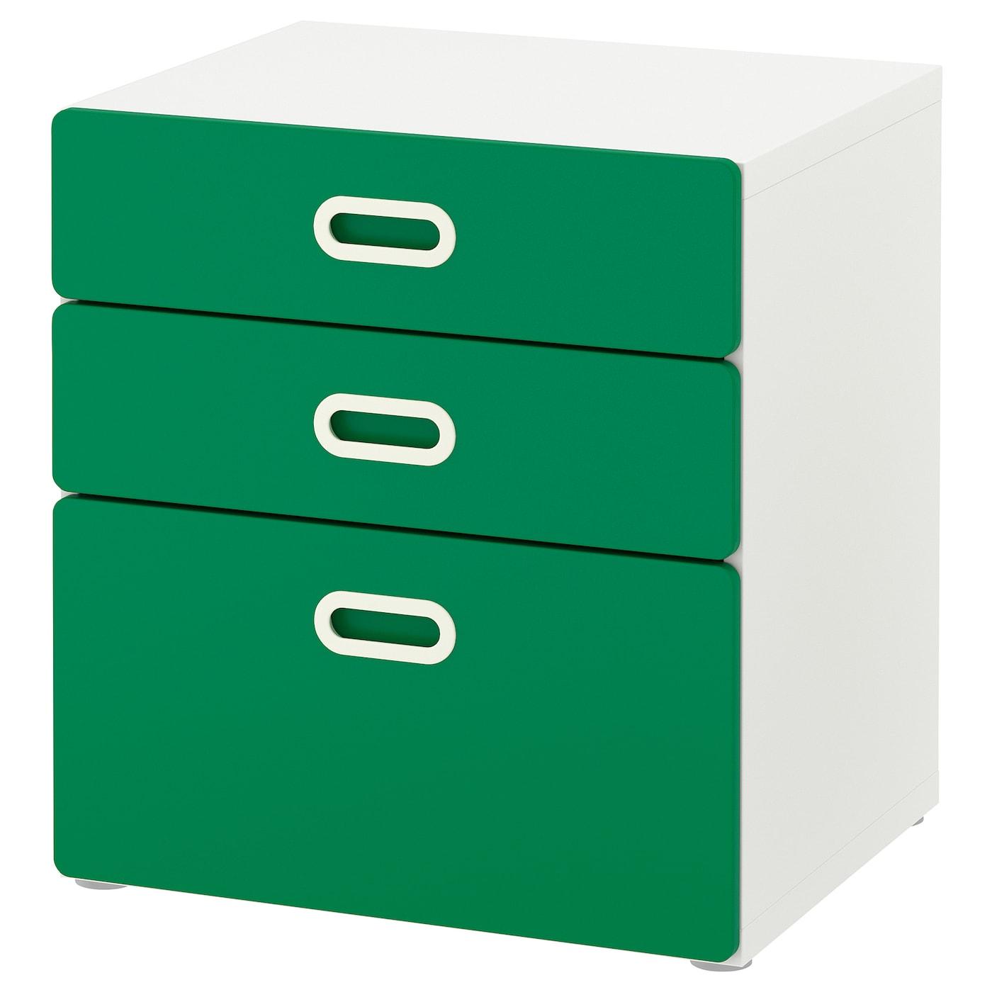 IKEA STUVA biała komoda z trzema zielonymi szufladami FRITIDS, 60x64 cm