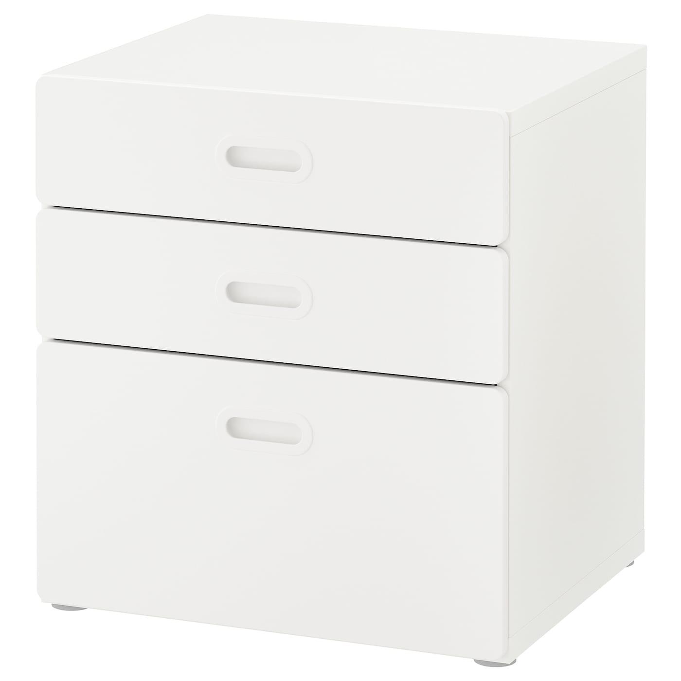 IKEA STUVA biała komoda z trzema białymi szufladami FRITIDS, 60x64 cm