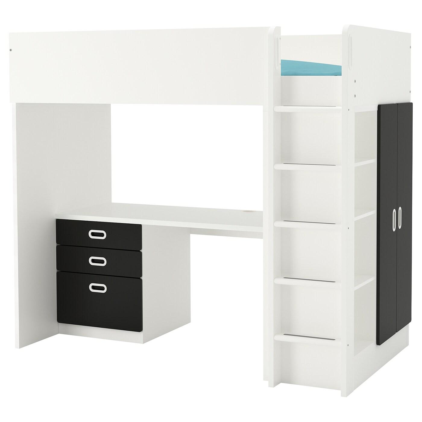 IKEA STUVA biało-czarna kombinacja ramy łóżka na antresoli z biurkiem, komodą z trzema szufladami i szafką z parą drzwi FRITIDS, 207x99x182 cm
