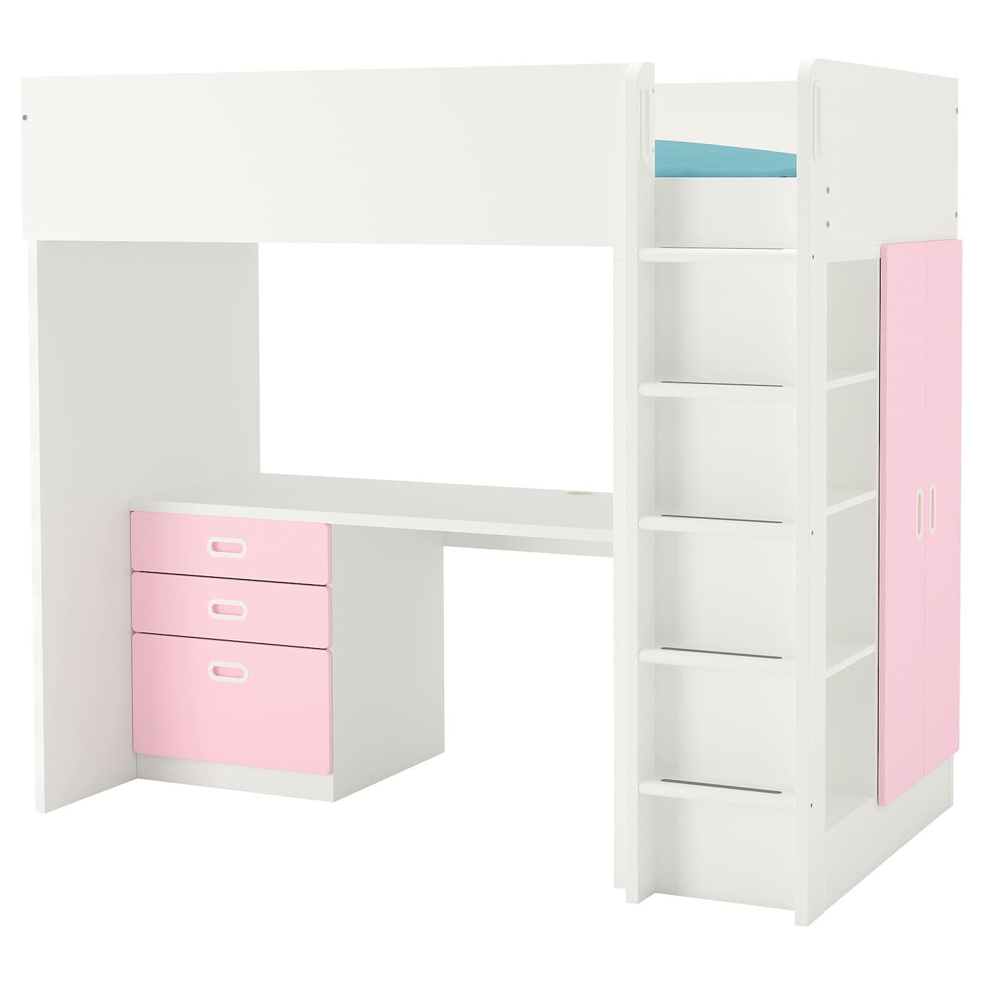 IKEA STUVA biało-jasnoróżowa kombinacja ramy łóżka na antresoli z biurkiem, komodą z trzema szufladami i szafką z parą drzwi FRITIDS, 207x99x182 cm
