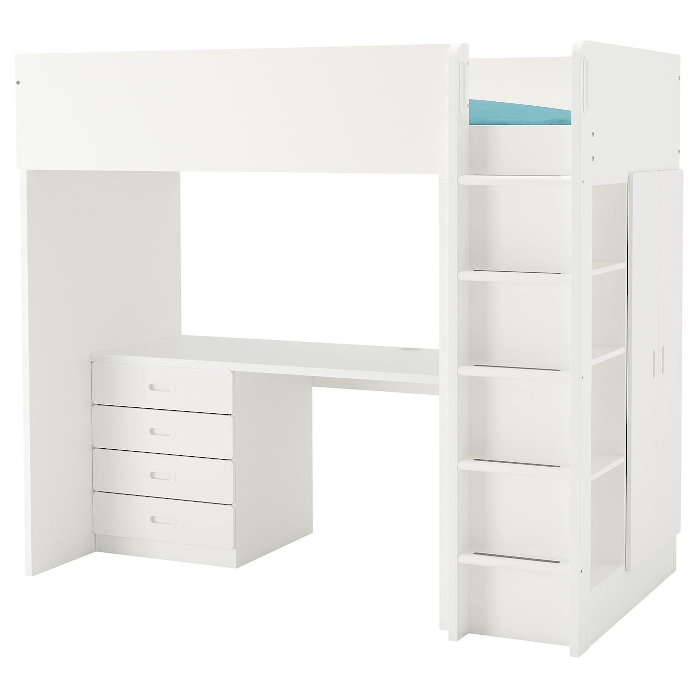 IKEA STUVA biało kombinacja ramy łóżka na antresoli z biurkiem, komodą z czterema szufladami i szafką z parą drzwi FRITIDS, 207x99x182 cm