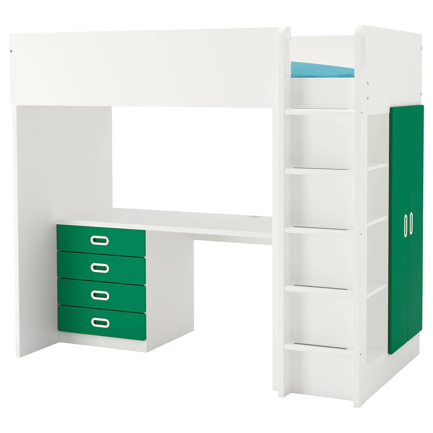 IKEA STUVA biało-zielona kombinacja ramy łóżka na antresoli z biurkiem, komodą z czterema szufladami i szafką z parą drzwi FRITIDS, 207x99x182 cm
