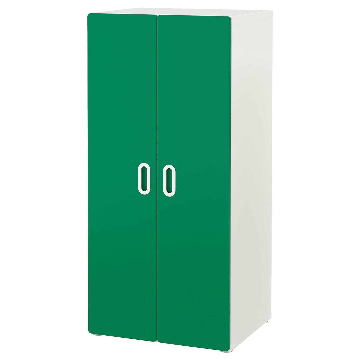 IKEA STUVA biała szafa z parą zielonych drzwi FRITIDS, 60x50x128cm