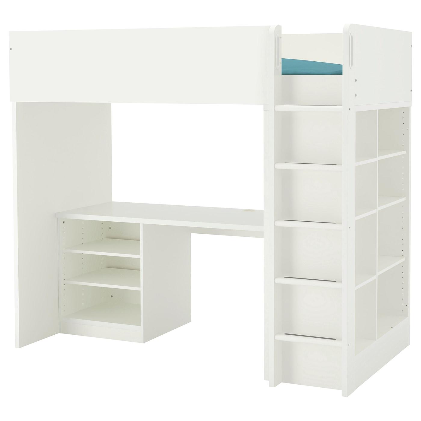 IKEA STUVA biała kombinacja łóżka na antresoli z biurkiem, komodą z trzema półkami i regałem