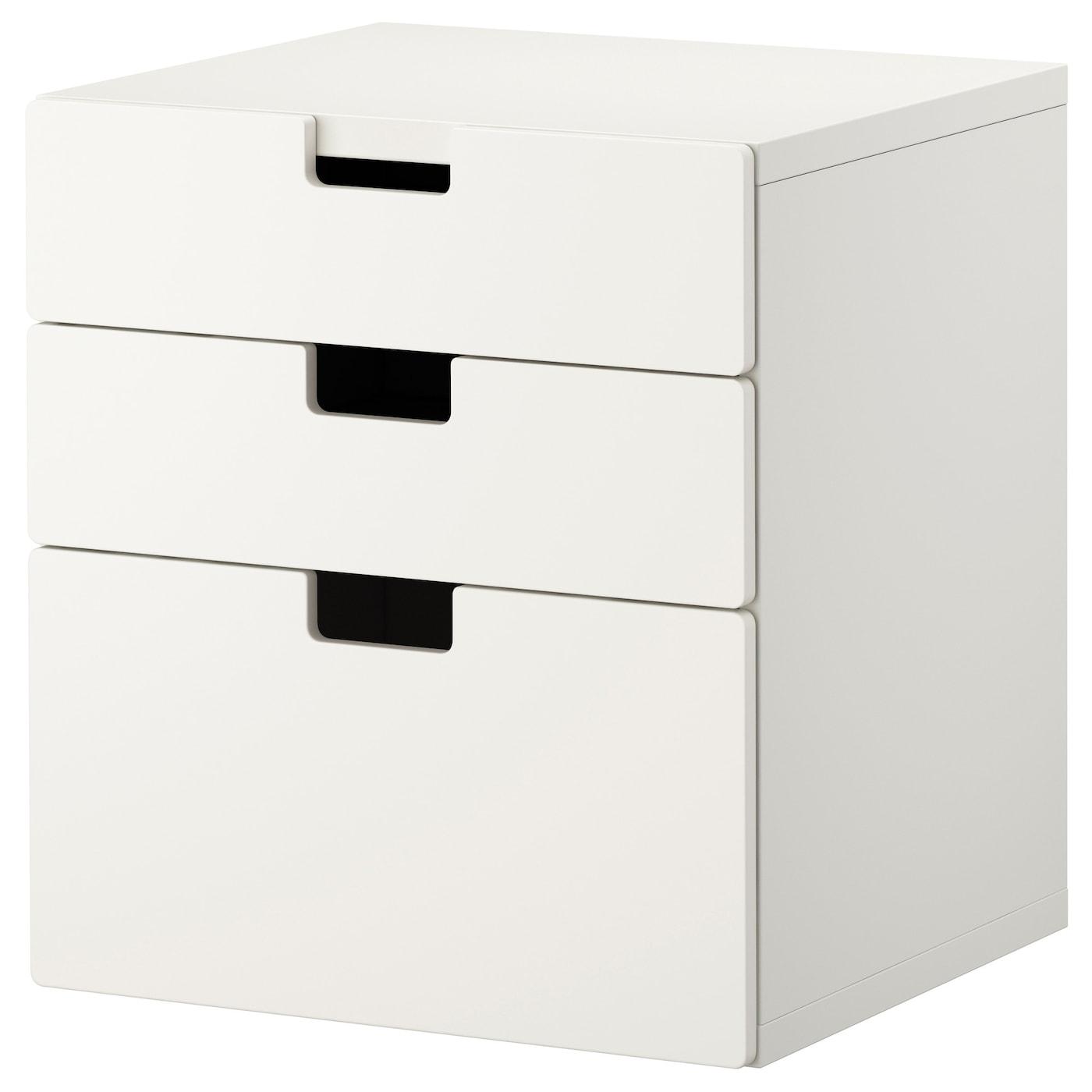 IKEA STUVA / STUVA MÅLAD Komoda, 3 szuflady, biały, biały, 60x64 cm