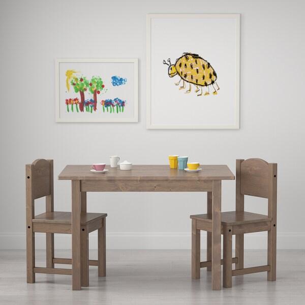 SUNDVIK Stolik dziecięcy, szary/jasnoszary, 76x50 cm
