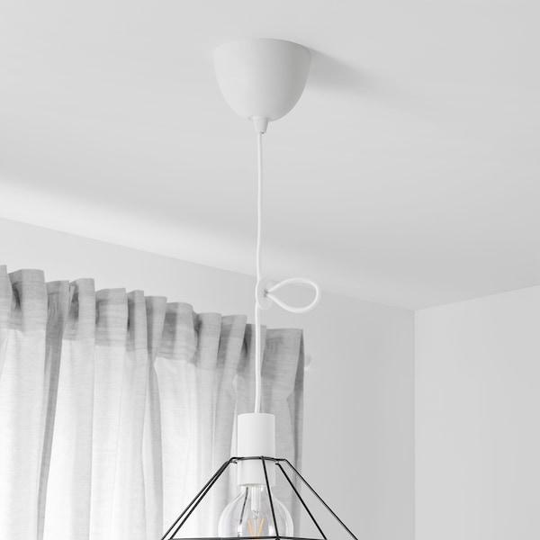 SUNNEBY Oprawka z kablem, biały tkanina, 1.8 m