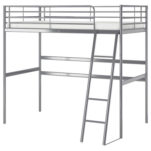 SVÄRTA Rama łóżka na antresoli, srebrny, 90x200 cm