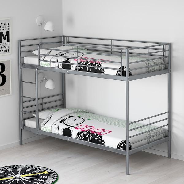 SVÄRTA Rama łóżka piętrowego, srebrny, 90x200 cm
