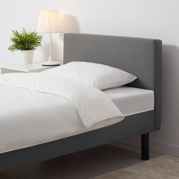 SVELGEN Rama łóżka z materacem, z wezgłowiem/szary, 90x200 cm