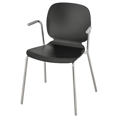 SVENBERTIL Krzesło z podłokietnikami, czarny/Dietmar chrom