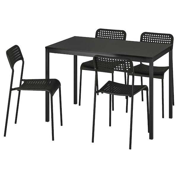 TÄRENDÖ / ADDE Stół i 4 krzesła, czarny, 110 cm