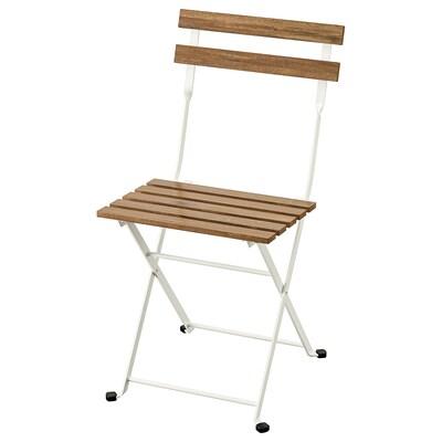 TÄRNÖ Krzesło, ogrodowe, składany/biały bejca jasnobrązowa