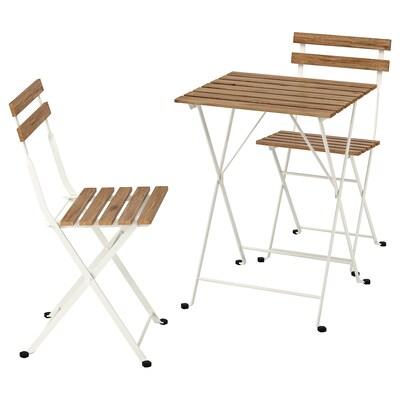 TÄRNÖ Stół+2 krzesła, na zewnątrz, biały/bejca jasnobrązowa