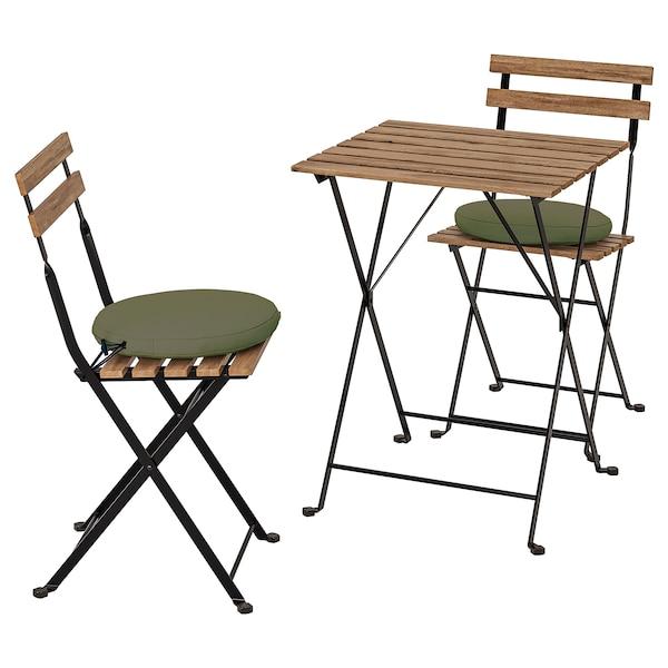 TÄRNÖ Stół+2 krzesła, na zewnątrz, czarny/jasnobrązowa bejca/Frösön/Duvholmen ciemny beżowo-zielony