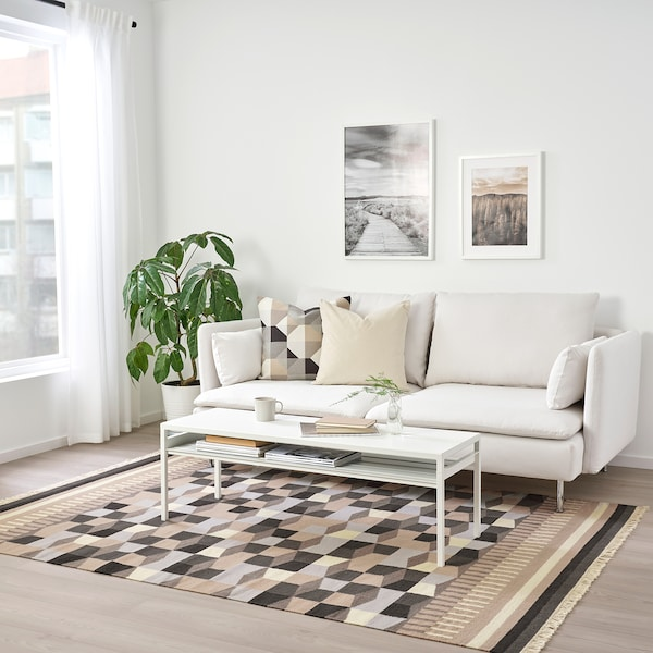 TÅRBÄK dywan tkany na płasko ręczna robota/szary/beż 240 cm 170 cm 4 mm 4.08 m² 1400 g/m²
