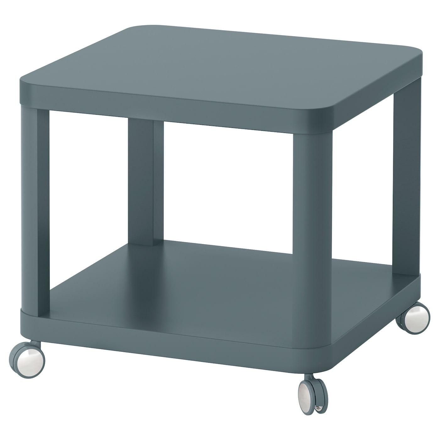 IKEA TINGBY turkusowy stolik na kółkach, 50x50 cm