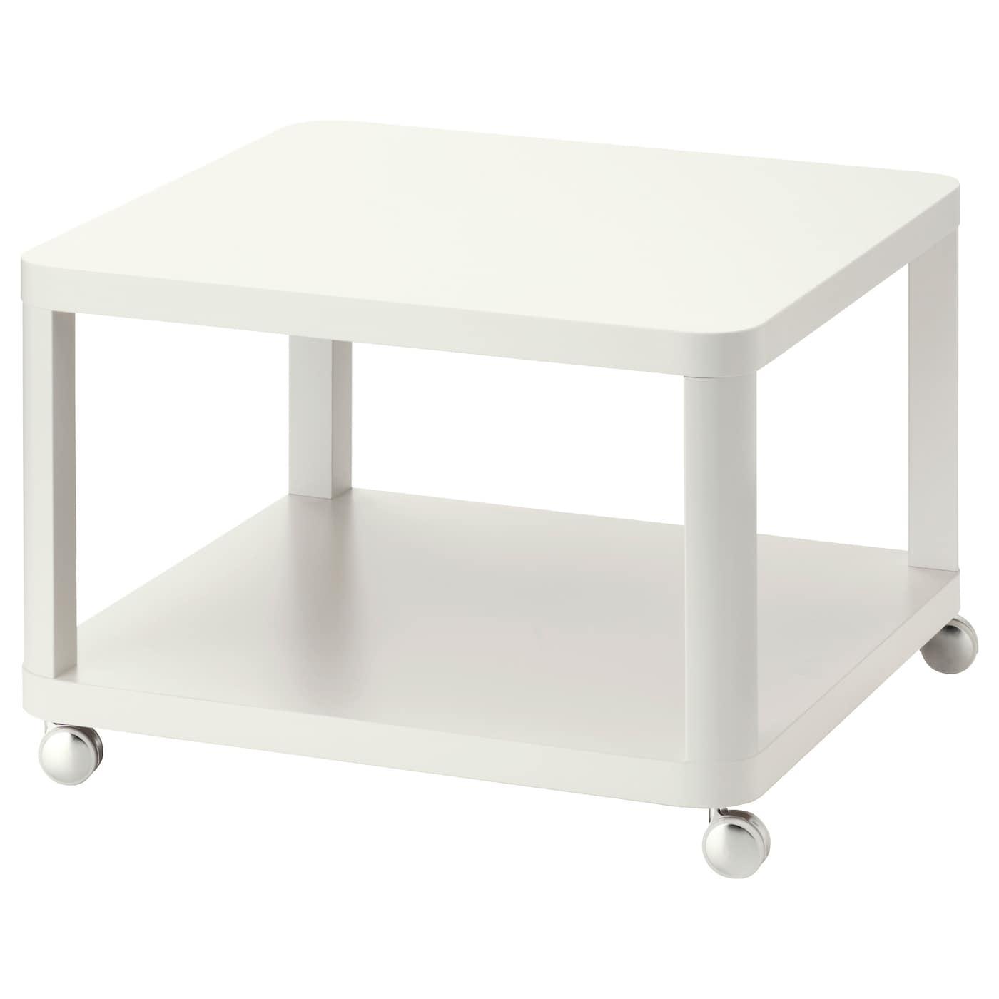 IKEA TINGBY biały stolik na kółkach, 64x64 cm