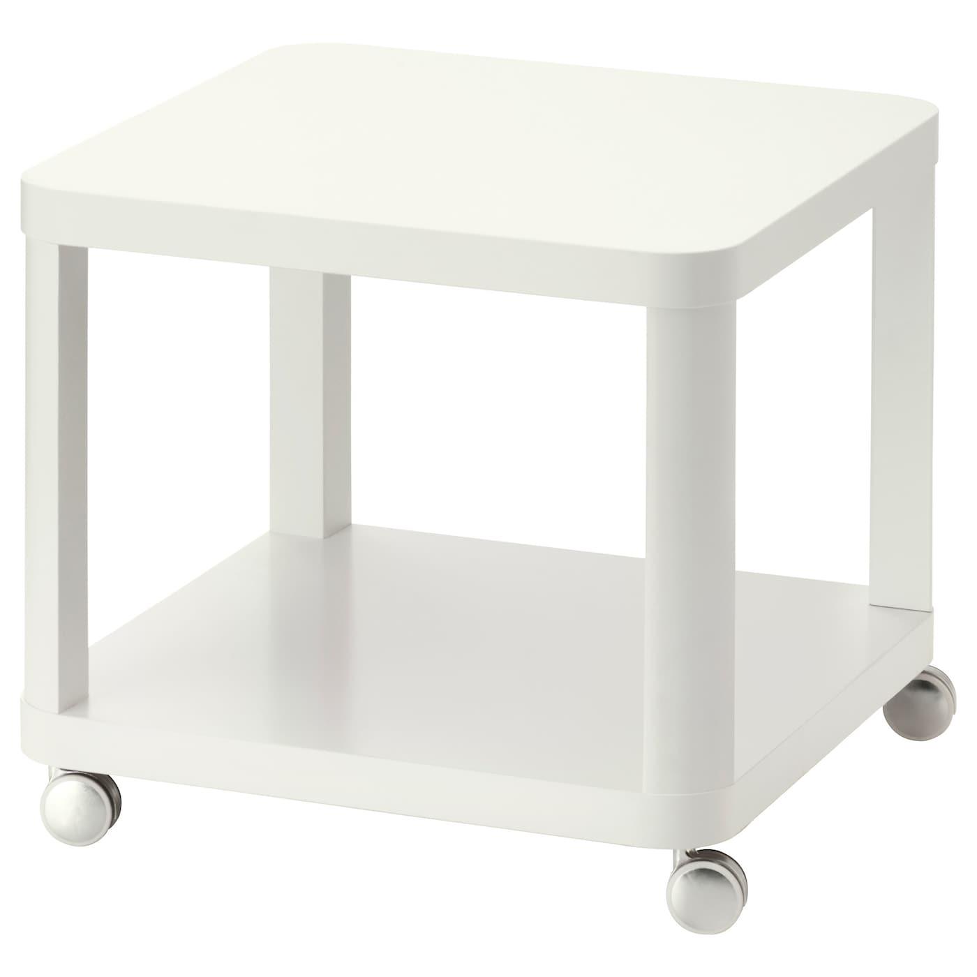 IKEA TINGBY biały stolik na kółkach, 50x50 cm