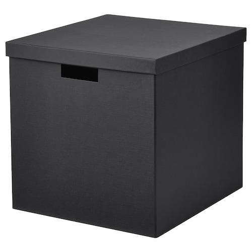 TJENA pojemnik z pokrywą czarny 35 cm 32 cm 32 cm