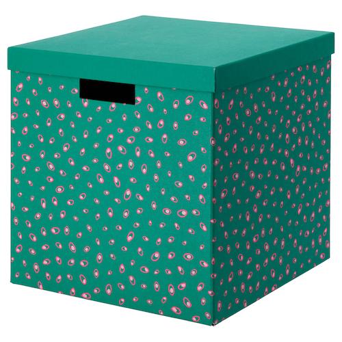 TJENA pojemnik z pokrywą zielony w kropki 30 cm 30 cm 30 cm