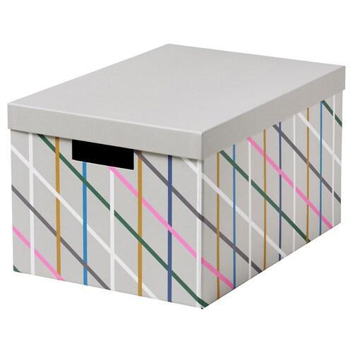 TJENA pojemnik z pokrywą szary wielobarwny/papier 35 cm 25 cm 20 cm