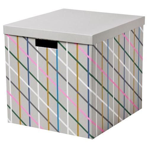 TJENA pojemnik z pokrywą szary wielobarwny/papier 35 cm 32 cm 32 cm