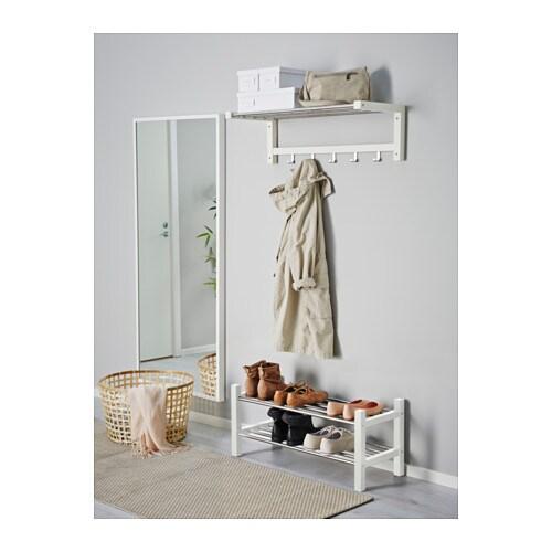TJUSIG Półka na buty IKEA 2 półki na buty można ustawić jedna na drugiej; w komplecie mocowania do ich połączenia.
