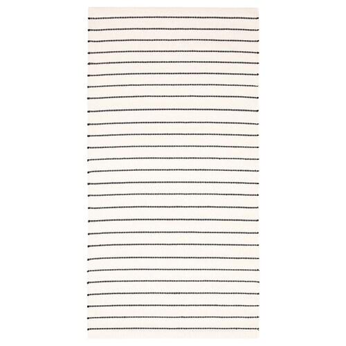 TÖRSLEV dywan tkany na płasko paski biały/czarny 150 cm 80 cm 1.20 m² 1900 g/m²
