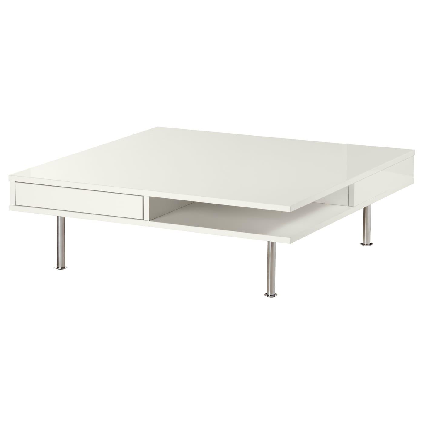 IKEA TOFTERYD biały stolik o wysokim połysku, 95x95 cm