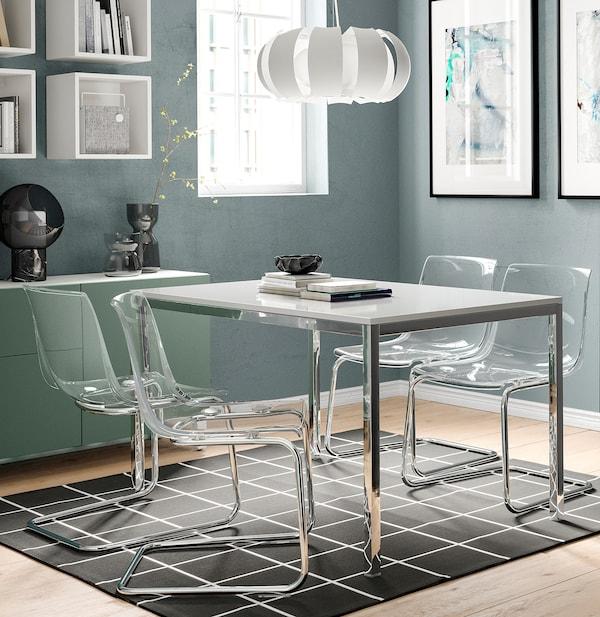 TORSBY Stół, chrom/połysk biały, 135x85 cm