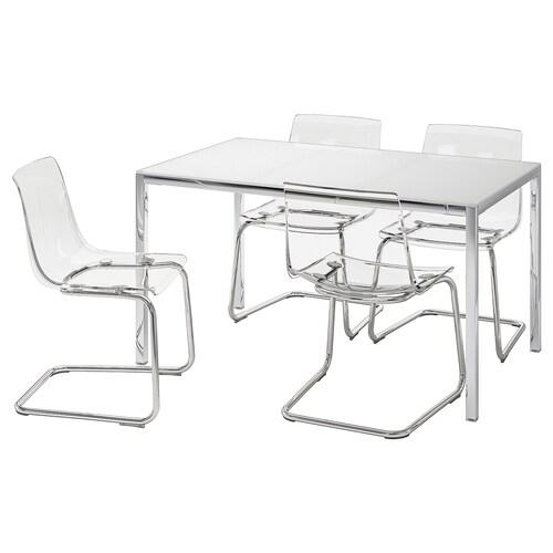 TORSBY / TOBIAS stół i 4 krzesła szkło biały/przezroczysty 135 cm 85 cm 73 cm