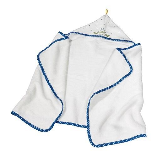 TORVA Ręcznik dziecięcy z kapturem IKEA Miły i przyjemny dla skóry dziecka. Haftowane motywy.