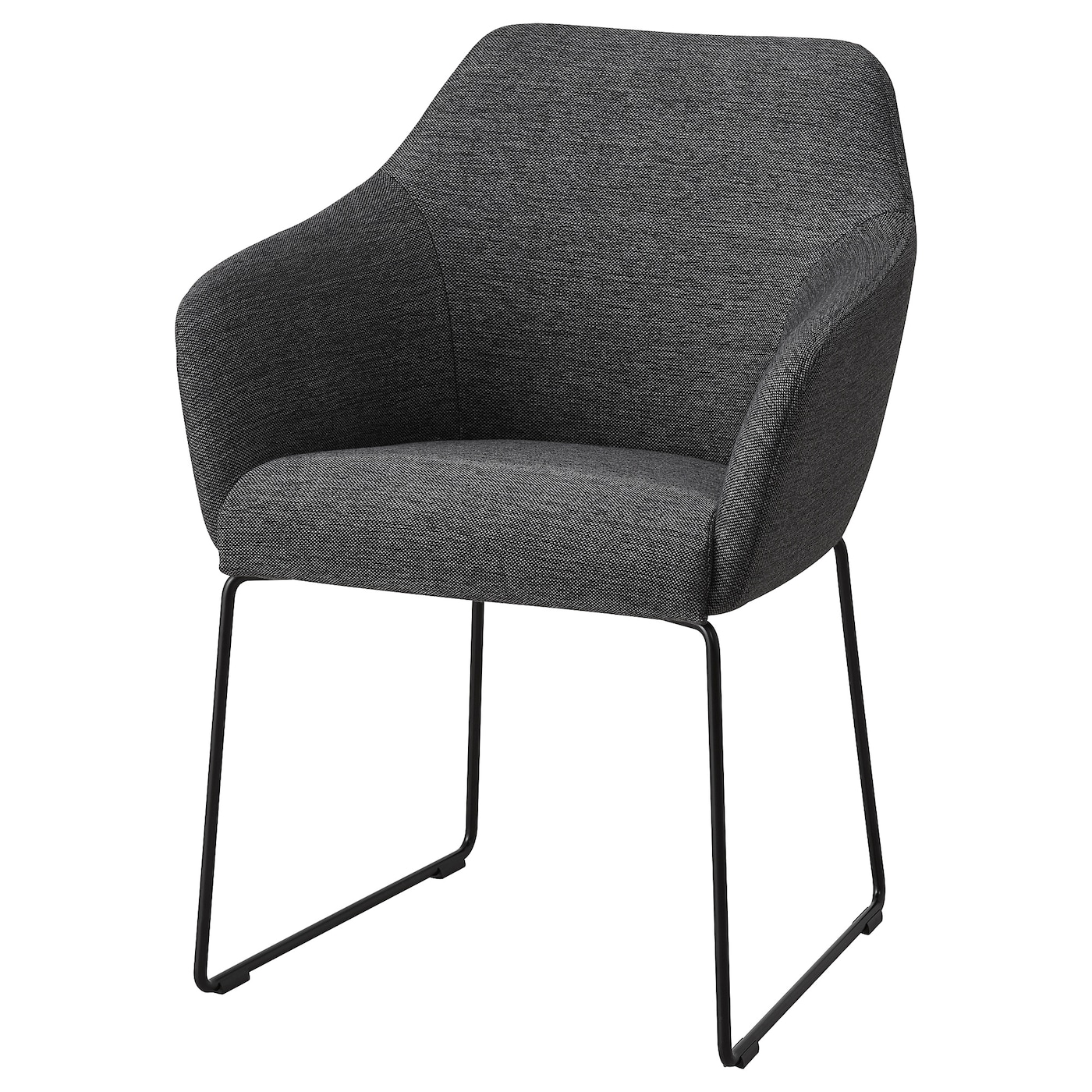 IKEA TOSSBERG szare krzesło z czarnymi, metalowymi nogami