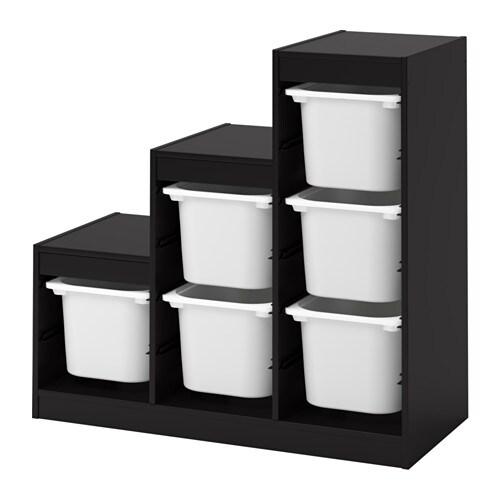 trofast rega z pojemnikami czarny bia y ikea. Black Bedroom Furniture Sets. Home Design Ideas