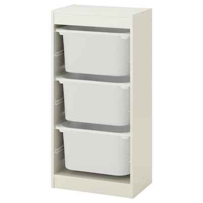TROFAST Regał z pojemnikami, biały/biały, 46x30x94 cm