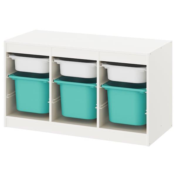 TROFAST Regał z pojemnikami, biały/turkusowy, 99x44x56 cm