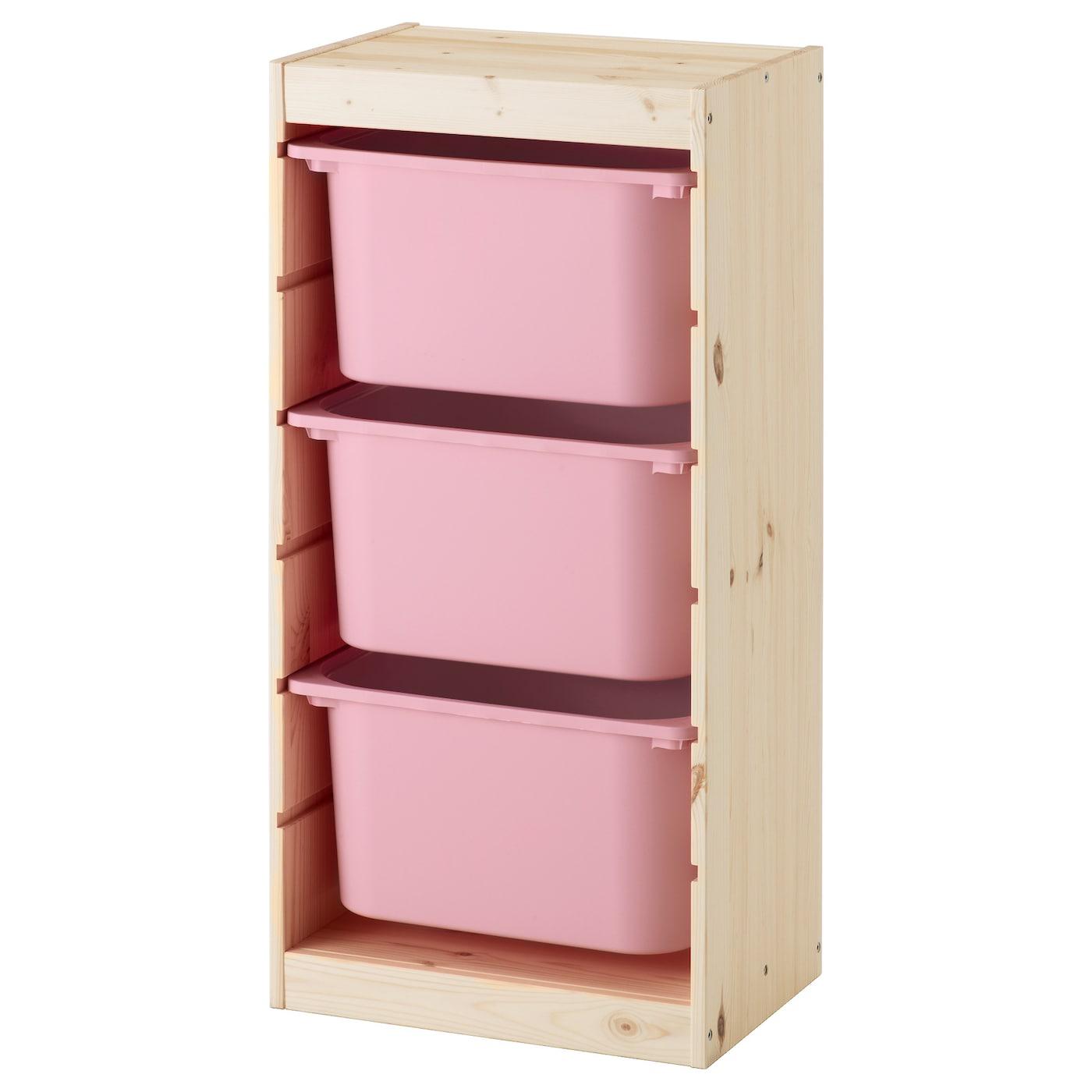 IKEA TROFAST, 46x30x91 cm, jasny, sosnowy regał pokryty białą bejcą z różowymi pojemnikami