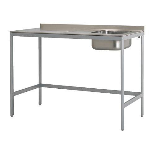 UDDEN Pojedynczy zlew na nogach IKEA Wolnostojąca; łatwy montaż i przesuwanie. Zlew ze stali nierdzewnej; trwały, odporny i łatwy do czyszczenia.
