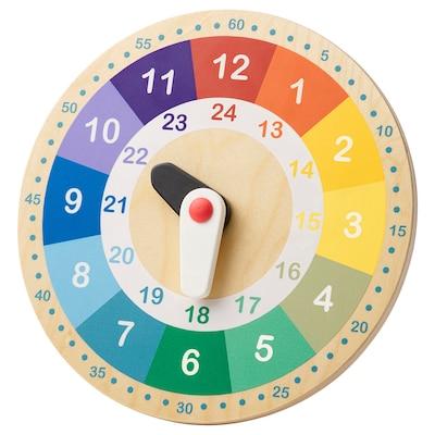 UNDERHÅLLA Zegar drewniany edukacyjny, wielobarwny, 25 cm