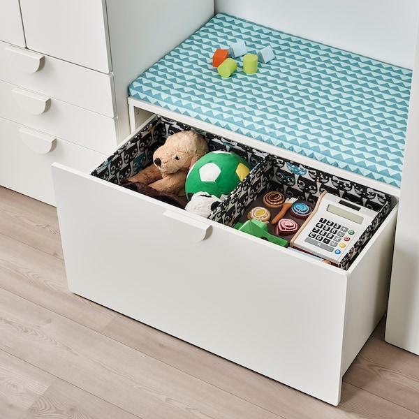 UPPRYMD Pudełko, biały/czarny wzór, 38x42x33 cm