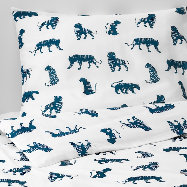 URSKOG Komplet pościeli, tygrys/niebieski, 150x200/50x60 cm