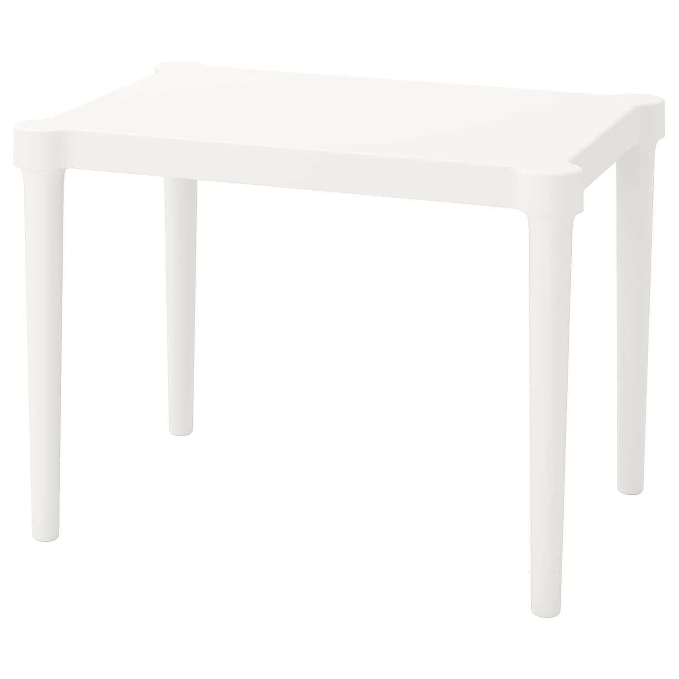 IKEA UTTER biały stolik dziecięcy, do wewnątrz lub na zewnątrz, 58x42x43 cm