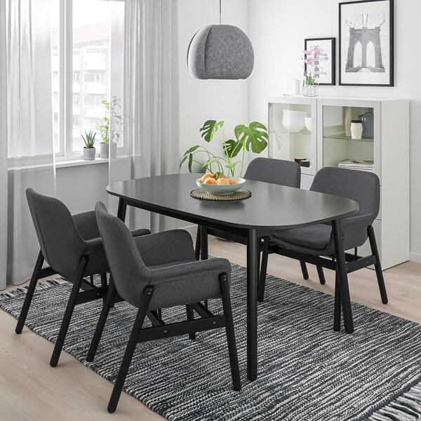 VEDBO Krzesło z podłokietnikami, czarny/Gunnared ciemnoszary